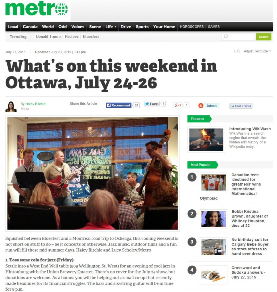 Metro Ottawa, July 24th 2015